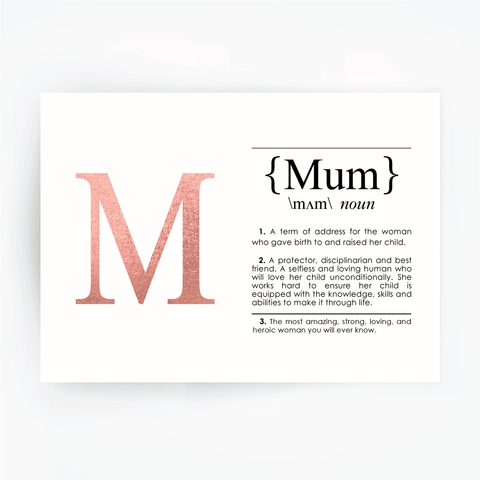 MUM Definition Art Print Rose Gold