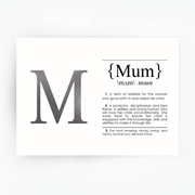 MUM Definition Art Print Silver