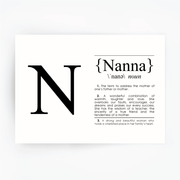 NANNA Definition Art Print Black