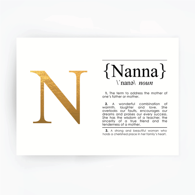 NANNA Definition Art Print Gold