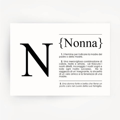 Italian Definition Art Print NONNA Black