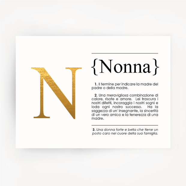 Italian Definition Art Print NONNA Gold Foil