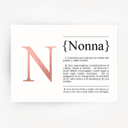 Italian Definition Art Print NONNA Rose Gold Foil