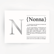 Italian Definition Art Print NONNA Silver Foil