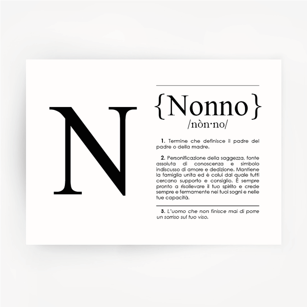 Italian Definition Art Print NONNO Black