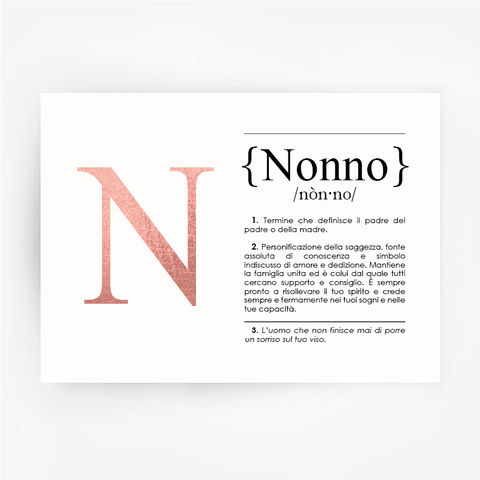 Italian Definition Art Print NONNO Rose Gold Foil