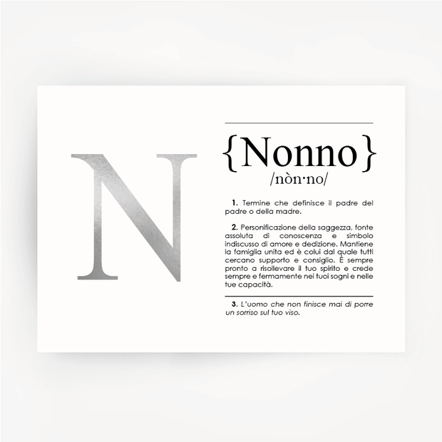 Italian Definition Art Print NONNO Silver Foil
