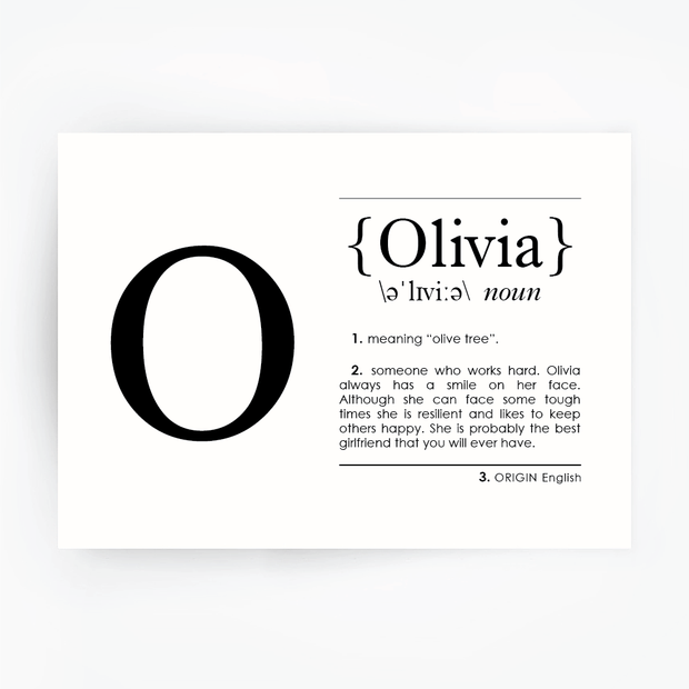 Name Definition Art Print OLIVIA Black