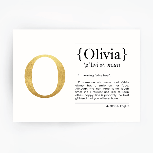 Name Definition Art Print OLIVIA Gold Foil