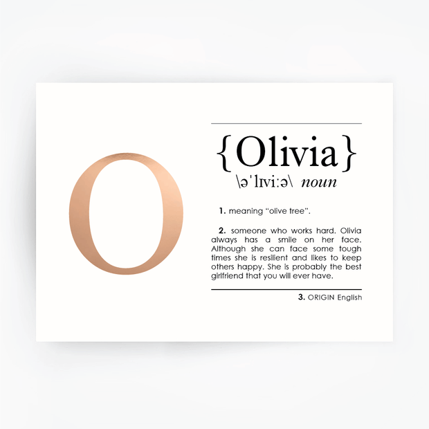 Name Definition Art Print OLIVIA Rose Gold Foil