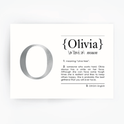 Name Definition Art Print OLIVIA Silver Foil