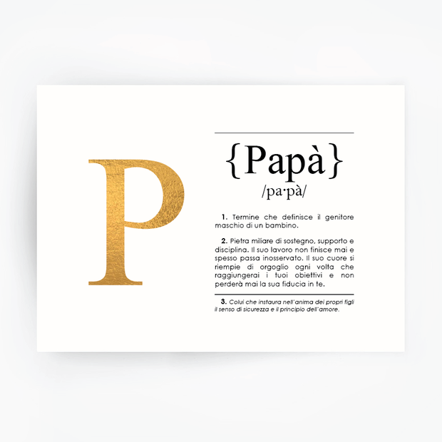 Italian Definition Art Print PAPA Gold Foil
