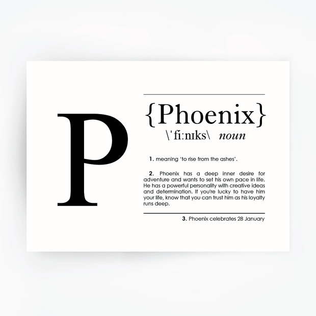 Name Definition Art Print PHOENIX Black