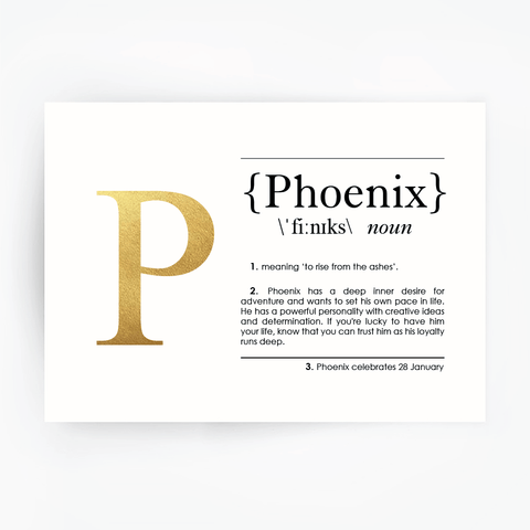 Name Definition Art Print PHOENIX Gold