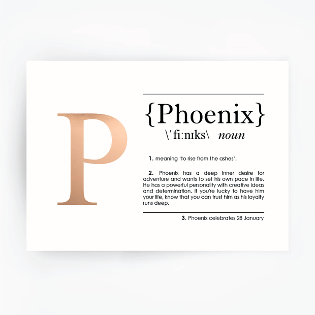 Name Definition Art Print PHOENIX Rose Gold