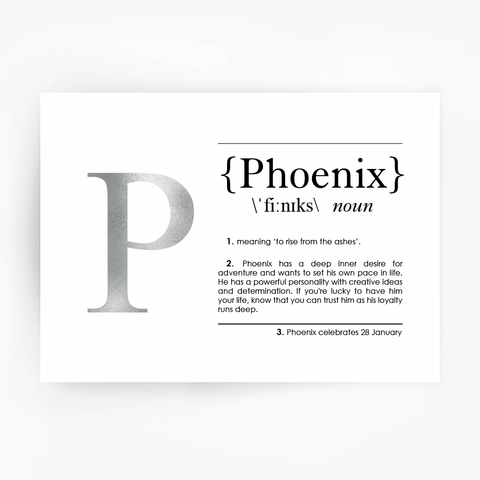Name Definition Art Print PHOENIX Silver