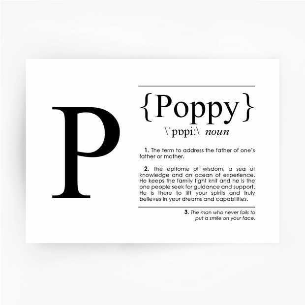 POPPY Definition Art Print