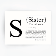 SISTER Definition Art Print Black