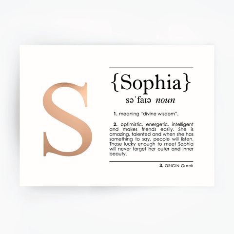 Name Definition Art Print SOPHIA