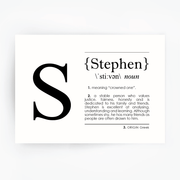Name Definition Art Print STEPHEN Black