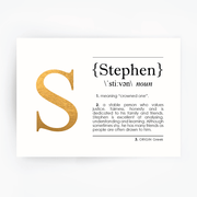 Name Definition Art Print STEPHEN Gold