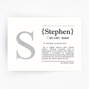 Name Definition Art Print STEPHEN Silver