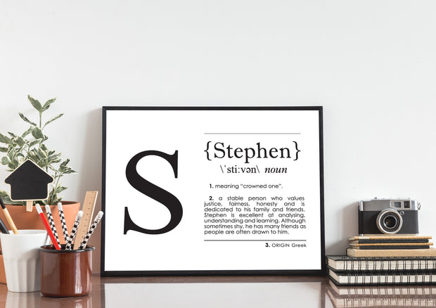 Name Definition Art Print STEPHEN Lifestyle