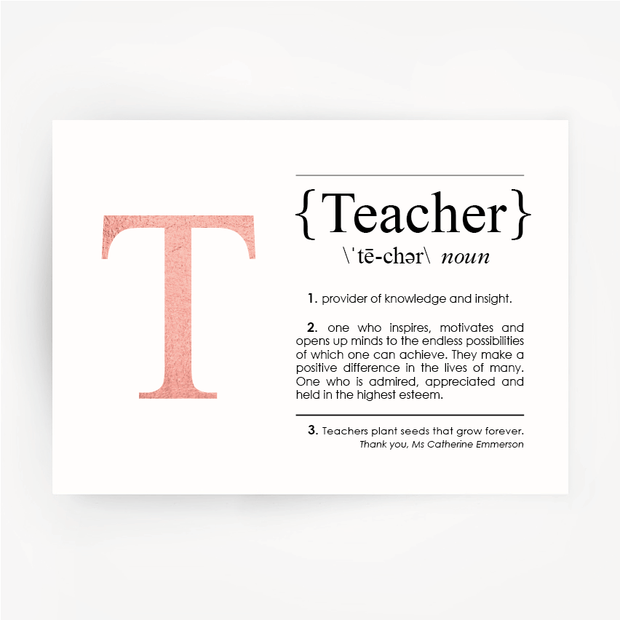 TEACHER Definition Rose Gold Foil Print