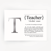 TEACHER Definition Silver Foil Print