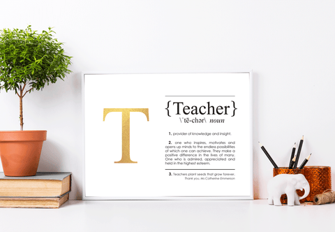 TEACHER Definition Foil Print Lifestyle