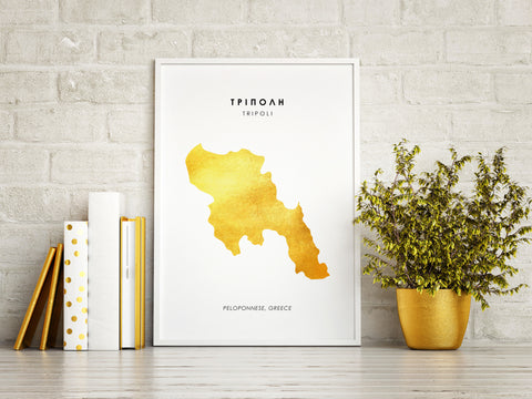 Map TRIPOLI Art Foil Print
