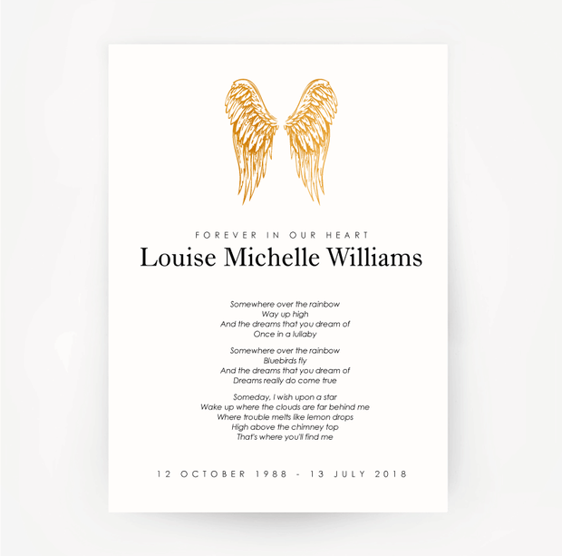 Memorial Print Wings Customised Gold