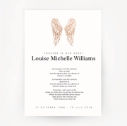 Memorial Print Wings Customised Rose Gold