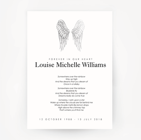 Memorial Print Wings Customised Silver