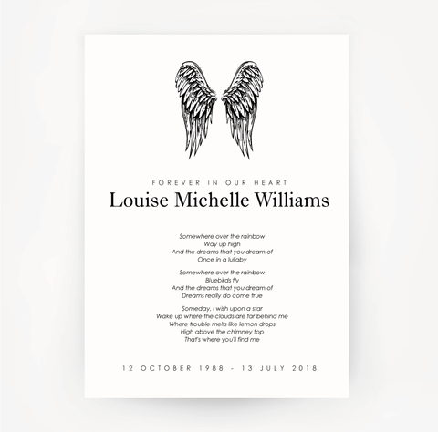 Memorial Print Wings Customised Black