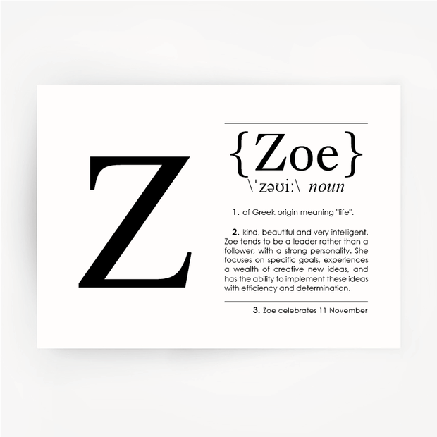 ZOE Name Definition Black Print