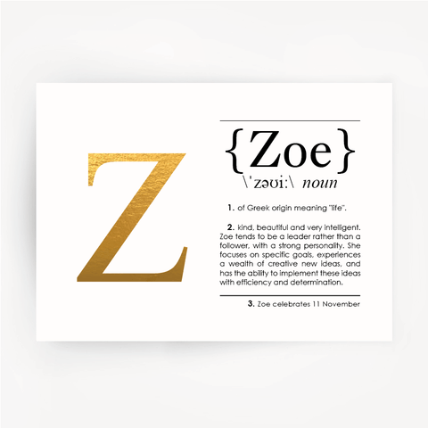 ZOE Name Definition Gold Foil Print