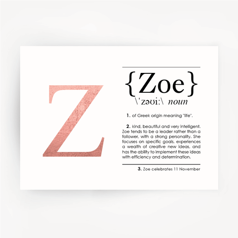 ZOE Name Definition Rose Gold Foil Print