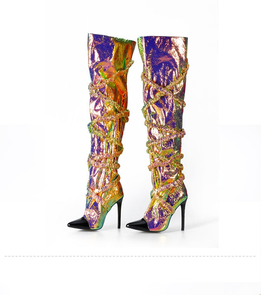 Holographic Over The Knee Boots