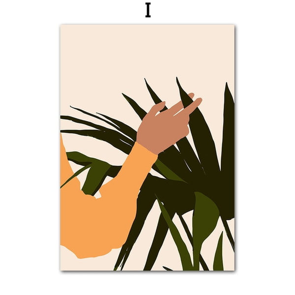 Abstract Plant Girl Print