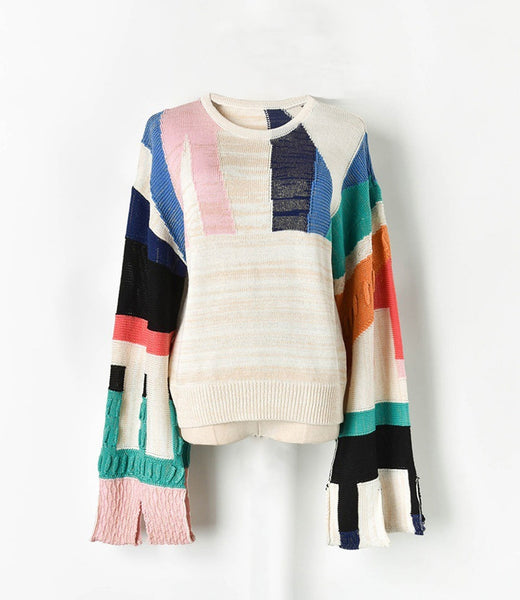 Rainbow Blaze Long Knitted Sweater