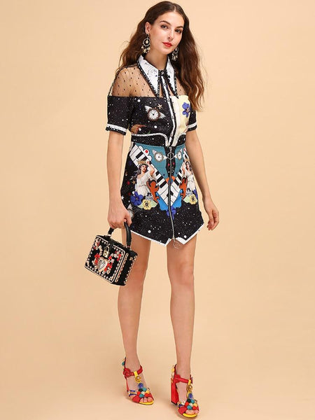 Short Sleeve Mesh Splice Shirt And Character Printed Skirt