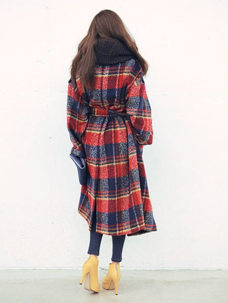 Oversized Casual Wool Plaid loose Maxi Long Coat