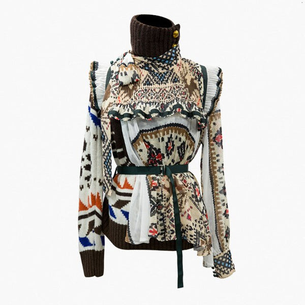 Print Asymmetrical Women's Sweater