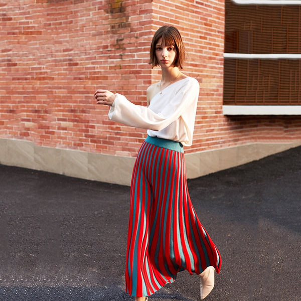High Elastic Waist Red Knitted Skirt