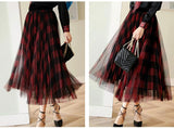 Green Red Long Plaid Tutu Skirt