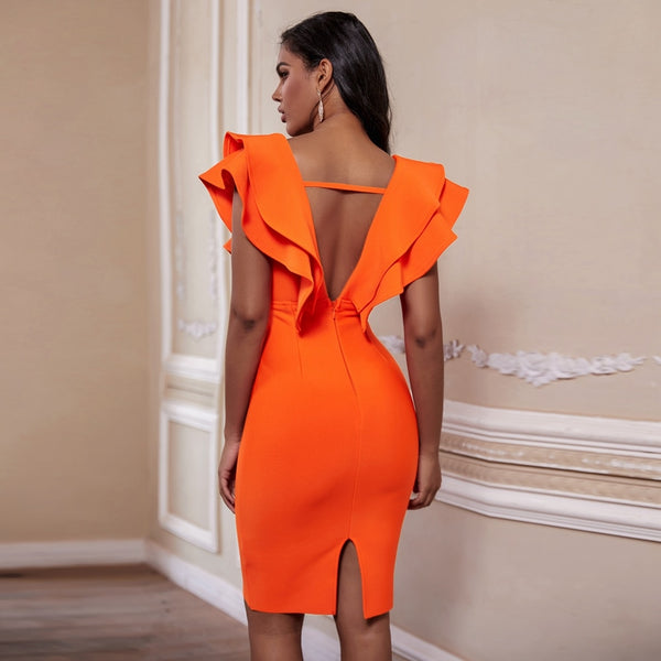 Burnt Orange Bandage Dress