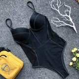 Mesh Patchwork Swimwear One Piece
