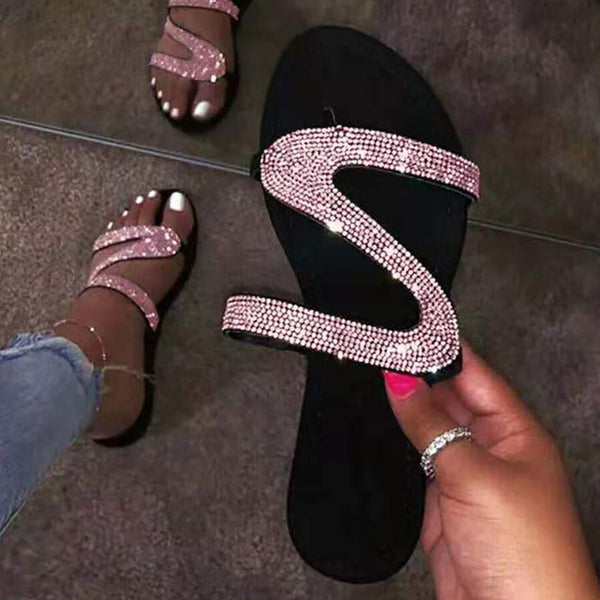 Open Toe Slides Rhinestone Sandals