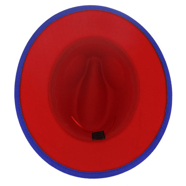Royal Blue And Red Patchwork Fedora